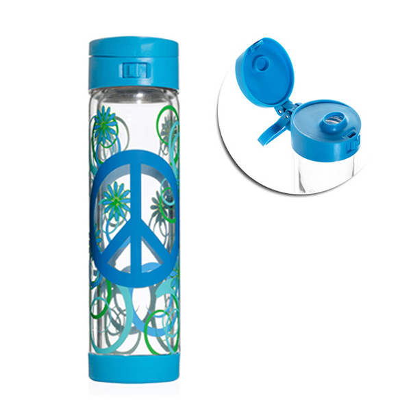 Glasstic │ 安全防護玻璃水瓶 彩繪款PEAC_藍 470ml