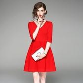 洋裝-中袖秋季V領純色收腰女連身裙2色73of194【巴黎精品】