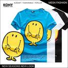 KONY【NN9386】《中美日韓夏季街頭潮流笑臉卡通圖案棉T》酷男時尚/學院/哥德 現+預