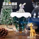 貓爪杯 心愿造景雙層圣誕玻璃杯星愿家用奶茶杯泡茶小孩潮流冰雪貓爪賀卡 韓菲兒