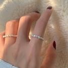 韓版溫柔氣質裸圈彈力繩淡水珍珠戒指
