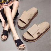 新款平底一字拖鞋女平跟沙灘鞋女海邊鬆糕厚底羅馬涼鞋