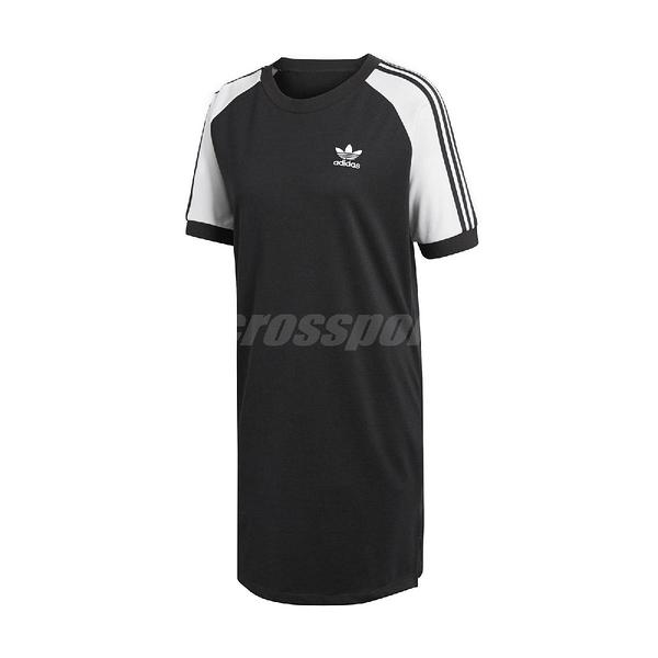adidas 連衣裙 Originals Raglan Dress 黑 白 女款 洋裝 連身裙 【ACS】 CE4961
