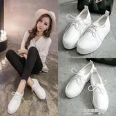 韓版皮鞋女中跟學院風女鞋皮厚底松糕鞋圓頭繫帶小白鞋女潮  凱斯盾數位3C