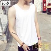 背心男 韓版夏裝運動休閒純色背心白色男透氣寬鬆無袖T恤嘻哈潮流青少年