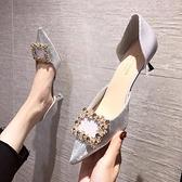 新款 小清新仙女單鞋溫柔5CM百搭中空尖頭方扣法式高跟鞋女鞋