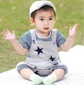 吊帶褲 男嬰兒衣服夏季男寶寶短袖背帶褲套裝
