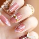 美甲工具用品 鉚釘裝飾暈染圓頭假指甲貼片甲片 日系成品手指甲片【果果新品】