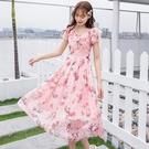 夏日立體時尚印花V領清新雪紡洋裝[988...
