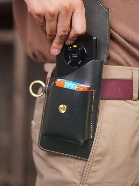 豎款裝雙手機包男腰包跑步工地干活穿皮帶放鑰匙腰間小包煙盒包套 coco