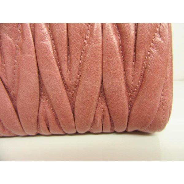 【特價25%OFF】miu miu Matelasse 珊瑚粉色牛皮銀鏈斜背包【二手名牌 BRAND OFF】