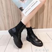 帥氣馬丁靴女英倫風冬季新款厚底機車靴短筒春秋單靴百搭皮靴 聖誕節全館免運