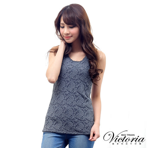 Victoria 彈性蕾絲背心-女-米白/深灰