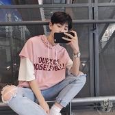連帽T恤 夏季韓版連帽短袖t恤男士連帽T恤帶帽7七分袖寬鬆上衣服五分中袖潮流 4色