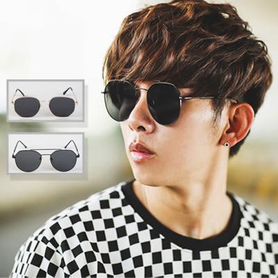 墨鏡 細桿金屬大圓框太陽眼鏡水銀墨鏡【NB0274J】