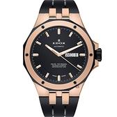 EDOX Delfin 海豚系列 專業200米日曆機械錶-黑x玫塊金框/43mm E88005.357RNCA.NIR