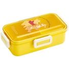 小禮堂 迪士尼 小熊維尼 日製 透明蓋微波便當盒 雙扣便當盒 保鮮盒 530ml Ag+ (黃) 4973307-51135