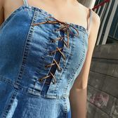 背帶牛仔連身裙洋裝女春夏季新品正韓修身漏背中長版氣質吊帶裙子