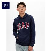 Gap男裝 Logo長袖套頭連帽休閒上衣 488108-海軍藍