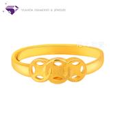【元大鑽石銀樓】『滾滾古錢』黃金戒指 活動戒圍-純金9999國家標準