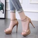 高跟涼鞋高跟鞋女細跟夏季新款女涼鞋防水台超高跟12CM時尚露趾女鞋 【全館免運】