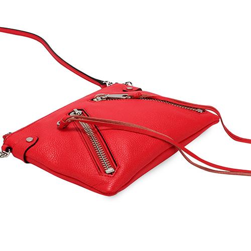 Rebecca Minkoff moto皮革流蘇裝飾拉鍊斜背包(紅色)220042-2