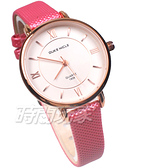 DUKE NICLE 尼克.公爵 羅馬時刻 典藏記憶 時尚腕錶 高質感皮革 女錶 學生錶 桃紅 DN1806-2