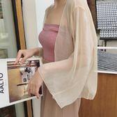 優惠三天-春夏新款韓國寬寬鬆雪紡上衣開衫短款外搭披肩薄外套