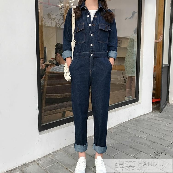 歐洲站明星迪麗熱巴男女同款牛仔長袖大碼休閒工裝連身連衣褲潮 母親節特惠