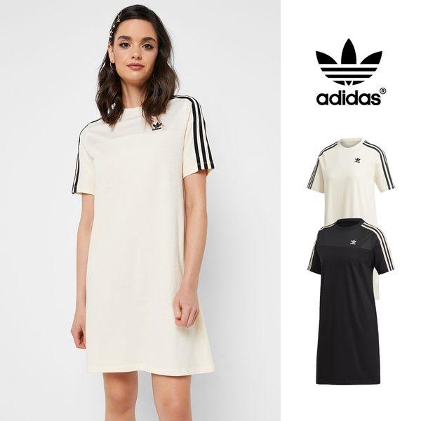 【GT】Adidas Originals 黑米白 洋裝 女款 透氣 運動 休閒 純棉 短袖 長版 連身裙 愛迪達 三葉草 Logo