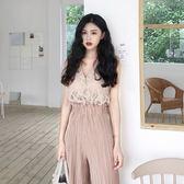 蕾絲打底衫女裝春季韓版時尚chic百搭氣質小仙女無袖蕾絲上衣 闊腿褲兩件套