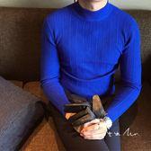 店長推薦韓國正韓秋冬半高領毛衣男士時尚修身針織衫條紋打底針織衫青年潮