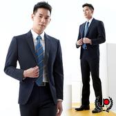 極品西服 修身舒適小劍領毛料西裝外套_深藍條(AS703-3G)