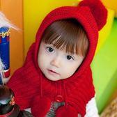 兒童男女童毛線針織披肩帽