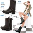 (全館免運)DE SHOP~【A06】 微氛秋色‧皮帶釦環短筒騎士工程雨靴~黑色