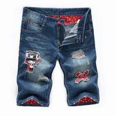 男牛仔五分褲 單寧牛仔短褲 破洞男新款男式寬鬆薄款刺繡褲子小腳大碼胖子韓版男褲子cs1278