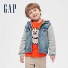 Gap男幼童 時尚創意拼接牛仔連帽外套 599700-水洗藍