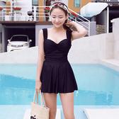 交叉 綁帶 鏤空 裙式 連身 泳裝