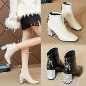 短靴 短靴女秋冬新款小跟粗跟瘦瘦靴網紅英倫百搭靴子女踝鞋馬丁靴 coco衣巷