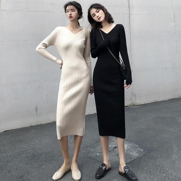 針織洋裝 秋法式復古v領修身針織打底裙坑條中長款氣質顯瘦長袖洋裝-年終穿搭new Year