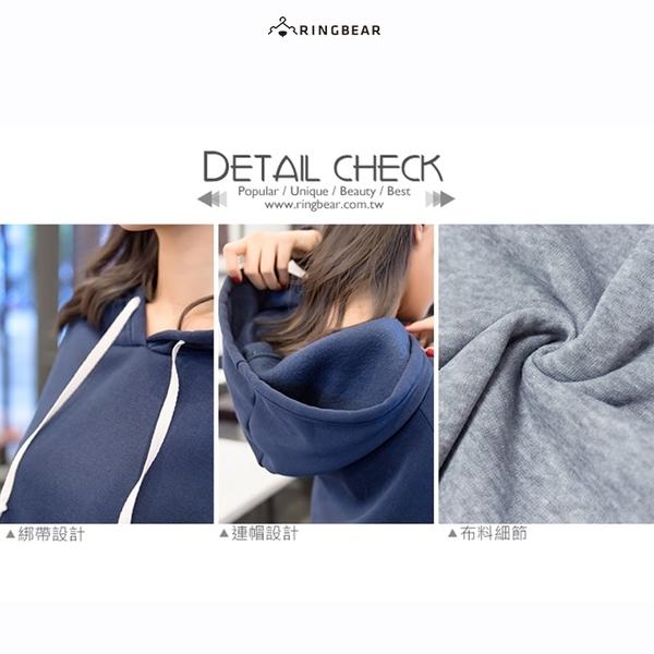 連帽--暖膚寬鬆連袖雙側圓弧口袋素面長袖連帽內刷毛長版上衣(灰.藍XL-4L)-X209眼圈熊中大尺碼◎