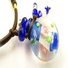 【Ruby工作坊】NO.21B深藍精油雕花瓶中國結項鍊