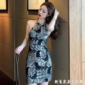 露背修身性感洋裝女裝2020夏季新款韓版夜店風復古緊身包臀短裙 聖誕節免運