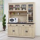 【森可家居】法克橡木5.3尺石面高餐櫃 8SB302-1 廚房碗盤收納 木紋質感  無印北歐風 MIT台灣製造