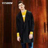 毛呢外套2018秋裝新款男士中長款風衣大衣青年外套中長款風衣 【萬聖節推薦】