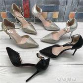 韓版尖頭鏤空包跟涼鞋夏季款銀色水鑽一字扣細跟高跟鞋女可可鞋櫃