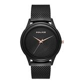 POLICE螺旋黑時尚米蘭腕錶-黑