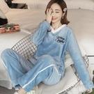 睡衣女冬季加厚珊瑚絨秋冬寬鬆V領韓版可愛學生可外穿法蘭絨套裝 新年禮物 新年禮物