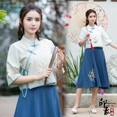 民族風女中國漢元素服飾復古唯美立領斜襟襯衫上衣 週年慶降價