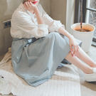MUMU【P65470】腰部鬆緊A字傘裙。藍/白
